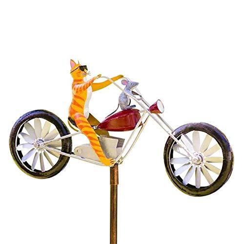 Windmühle Windspiel Garten Kinder Fahrrad Windrad Gartenstecker Gartendeko Wetterfest, Yard Rasen Vintage Stil Stake Dekoration, Nettes Tier Reiten Auf Einem Motorrad Statue, Garten Windmühle