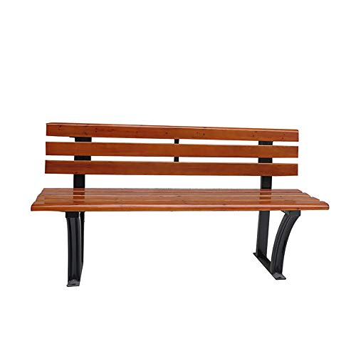household products Park Bench Outdoor Garden Leisure Bench, Anticorrosive Wood Chair Surface Terrace Backrest Bench, Cast Iron Chair Foot Stable Outdoor Rest Seat, Used For Lawn, Square, Backyard