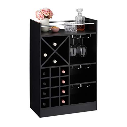 Relaxdays Botellero Grande para 22 Botellas Vino, Mueble Bar, De Pie, Tablero Aglomerado, 1 Ud, 96 x 63 x 35 cm, Negro