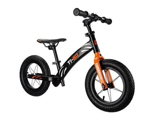 TiGO AIR - Bicicleta de equilibrio para niños pequeños de 2 a 5 años, ligera, fácil de llevar para niños y niñas, ruedas de 12 pulgadas, marco de aluminio ligero, color naranja
