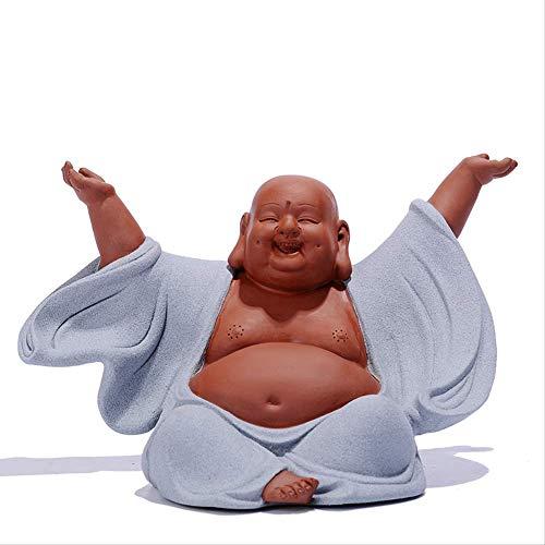 Radiancy Inc Miller Buddha-Ornamente, chinesische Keramik-Zen-Bedeutung, lachender Buddha-Statue, Dekoration für Zuhause, Wohnzimmer, Dekoration