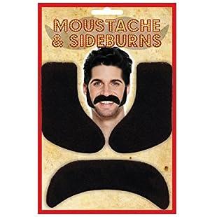HENBRANDT 6 x Stick On Black Sideburns & Moustache Fancy Dress Accessory Stag Night Set