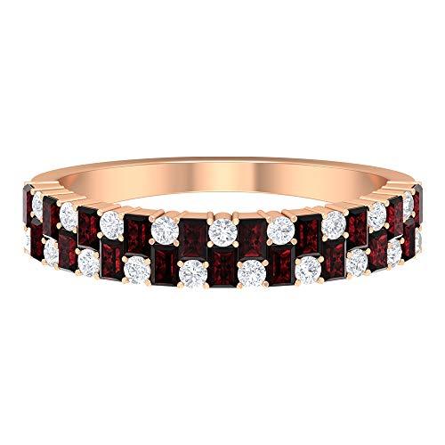 Rosec Jewels - Anillo de aniversario de diamantes y granate de media eternidad de 3/4 quilates, anillo de piedra natal de enero, oro de 14 quilates. rojo