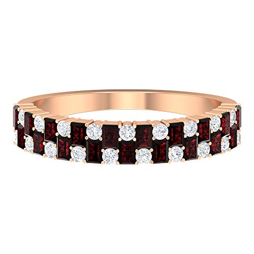 Rosec Jewels - 3/4 CT Media Eternity Granate y Diamante Aniversario Banda Anillo Anillo de Banda Ancha, 14K Oro rosa, Size:EU 49