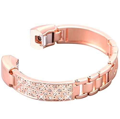 iRunzo Cinturino di ricambio in metallo compatibile con Fitbit Alta / Alta HR da donna e lega di zinco, colore: oro Rosa, cod. IR-UK-IP12-LP