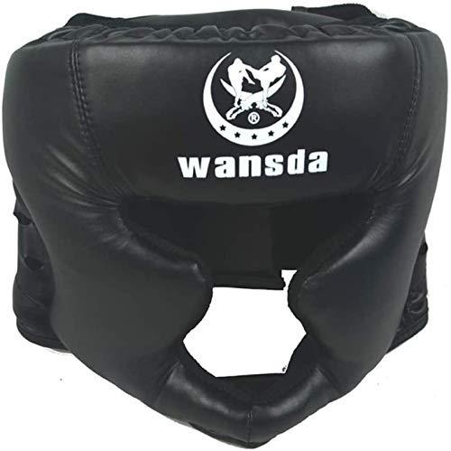 Boxeo Casco Protector Entrenamiento Adultos Competencia Protector de Cabeza Cerrado Tipo Artes Marciales Fitness Equipment Tocados Taekwondo Práctico Piel Sintética Karate (Negro) - Negro