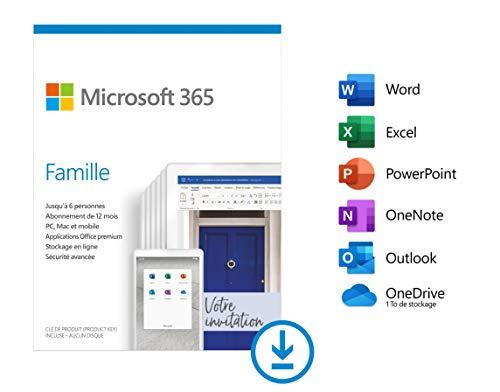 Microsoft 365 Famille | PC ou Mac | Jusqu'à 6 personnes | Téléchargement