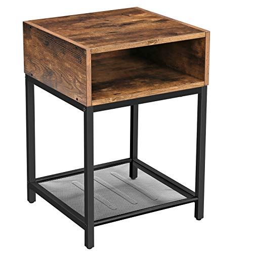 VASAGLE Nightstand, Side Table, End Table with Open Compartment and Mesh Shelf, for Living Room Bedroom, Easy Assembly, Space Saving, Industrial, Rustic Brown LET46X