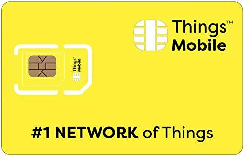 SIM Card GPRS Things Mobile per IoT e M2M con copertura globale e rete multi-operatore GSM 2G 3G 4G LTE, senza costi fissi, senza scadenza e tariffe competitive, con 10 € di credito incluso