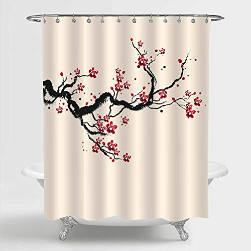 MitoVilla Japanese Cherry Blossom Shower Curtain for Women and Girls, Classic Asian Watercolor Spring Cherry Tree Branches and Blooming Sakura Flowers Bathroom Decor, Red Black Beige, 72' W x 78' L
