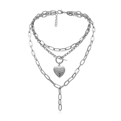 HMOOY Cool Punk Grueso Cadena Collar Llamativo En Forma De Corazón Foto Medallón Colgante En Capas Gargantilla Collar Joyería para Mujeres Niñas (Silver)