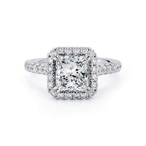 Rachel Koen Radiant Cut Halo Diamond Engagement Ladies Ring in Platinum 2.25cts