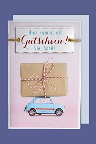Gutschein Geburtstag Lifestyle Karte Grußkarte Applikation Auto Geschenk 16x11cm