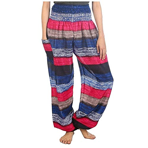 Fantastic Prices! Dainzusyful Harem Pants for Women Striped Printed High Waist Hippie Yoga Loose Pants Trousers Palazzo Casual Pants Blue