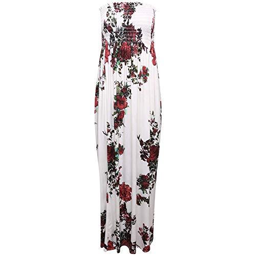 GirlzWalk Damen Sheering Blumen Druck Langes Maxi Kleid Übergröße 36-54