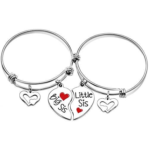lauhonmin Schwester Armreif Armbänder für Big Sister Little Sister Herz Charms Doppelanhänger 2 Stück