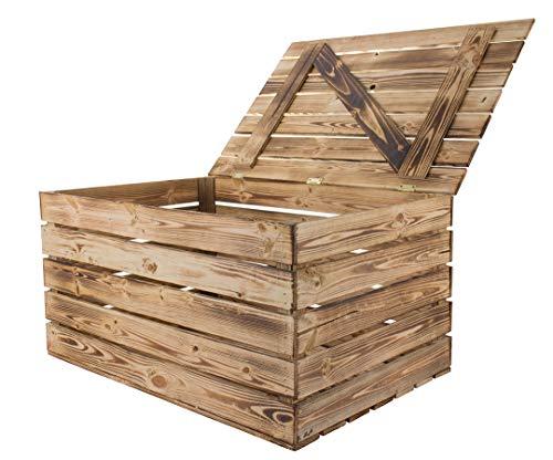 Kontorei® große geflammte flambierte Truhe 85cm x 55cm x 46cm 1er Set Holztruhe Wäschetruhe Holzkiste Box Schatzkiste Schatztruhe Aufbewahrungstruhe