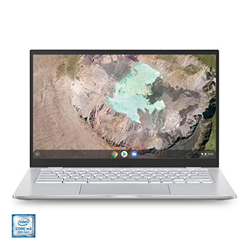"Asus Chromebook C425 Clamshell Laptop, 14"" FHD 4-Way NanoEdge, Intel Core m3-8100Y Processor, 4GB RAM, 128GB eMMC Storage, Backlit KB, Silver, Chrome OS, C425TA-WH348"