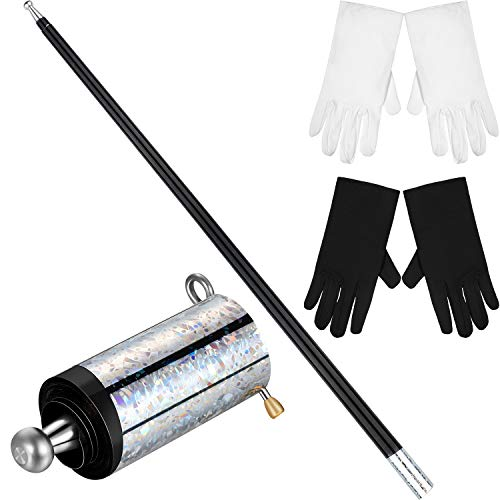 Magic Wand Magic Cane Black Metal Appearing Cane with 2 Pairs Gloves for Magician Costume Accessories
