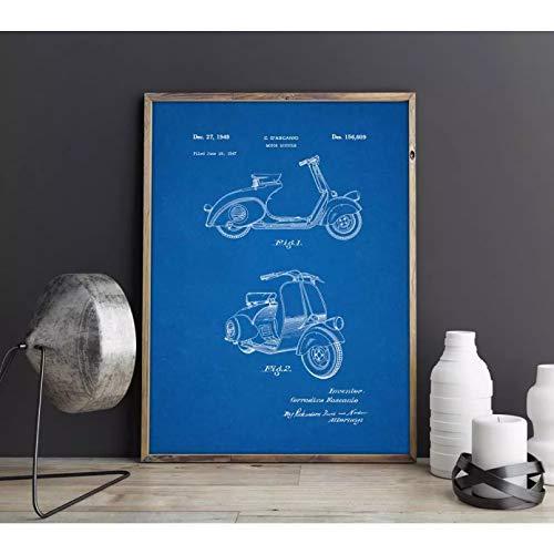N/A Pintura de Lienzo Impresión Cuadro Wasp Scooter Motocicleta Moto Obra de Arte, Arte de la Pared, Cartel, decoración de la habitación, impresión, Plano, Decoraciones de Pared