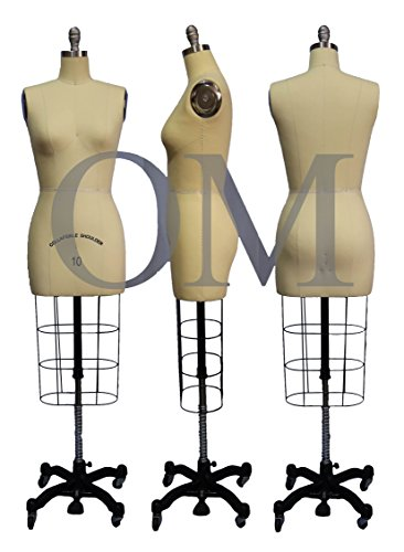 (ST-SIZE10) Professional Dress Form Female Half Body Size 10 Collapsible shoulder
