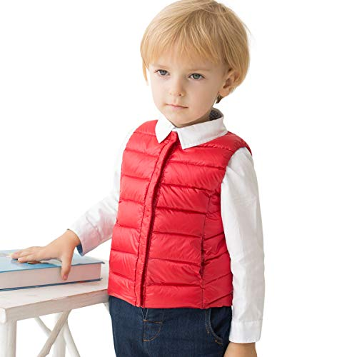 marc janie Girls Boys' Lightweight Packable Down Puffer Vest 6 Years Red