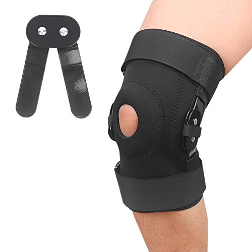 Hinged Knee Brace Support for Swollen Arthritis, Ligament Torn Meniscus Injurie, Tendon, Injury Recovery with Adjustable Strapping, Sports Exercise, Leg Stabilizer for Men & Women (Large)