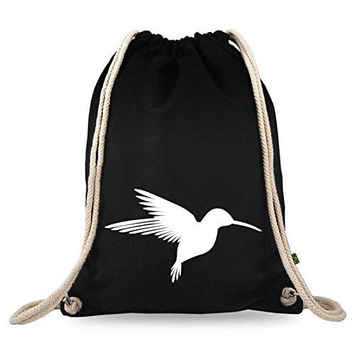 Gymtaselliebe® gymtas met motief - vogel - katoen zwart - sporttas - rugzak - stoffen tas - gymtas - tas -ca. 12 liter – 37 x 46 cm.