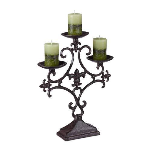 Relaxdays Kerzenständer antik, 3-Armiger Kerzenleuchter, Outdoor Kerzenhalter, Tischleuchter, rustikal, Gusseisen, braun