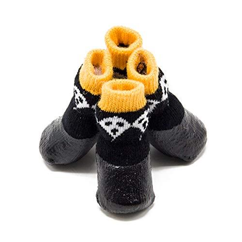 Yalatan Calcetines Negros Antideslizantes Impermeables para Mascotas, Protector de Garras para Mascotas de Halloween, Cubierta para pies sucios pequeños, medianos y Grandes