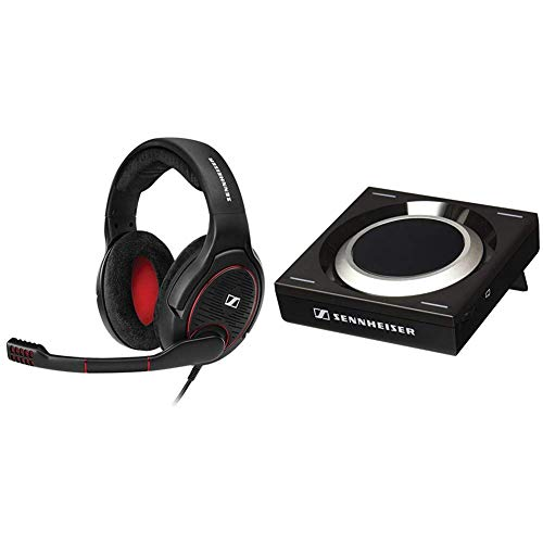 Sennheiser Game ONE Gaming Headset, Open Acoustic, Noise-canceling mic, Flip-to-Mute, XXL Plush Velvet Ear Pads - Black & GSX 1000 Gaming Audio Amplifier, 7.1 Surround Sound
