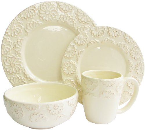 American Atelier 16-Piece Bianca Flower Dinnerware Set, Iv
