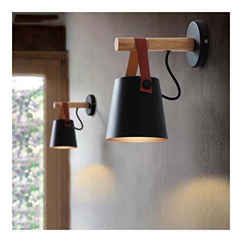 RTRY Luminaria de la Pared rústica de LED Blanco/Negro Lámparas de Pared Abajur de la Correa de Madera Sala Apliques de la Pared de la luz E27 nórdica de Pared de luz (Lampshade Color : Black)