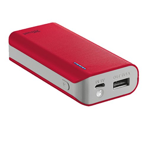 Trust Mobile Primo Powerbank, 4.400 mAh met 1 USB Poort (voor Tablet & Smartphone), Rood