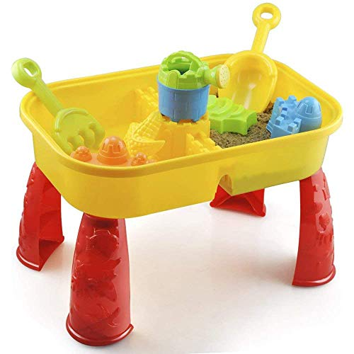 Sand and Water Table with Lid and Accessories - Kids Outdoor Play Garden Sandpit