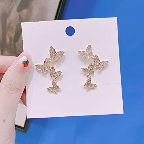 Cestbon 925 Sterling Silber Zirkonia Gold Vier Schmetterling Lange Damen Hochzeit Ohrringe,Diamant Schmetterling Lange Damen Ohrringe,Gold