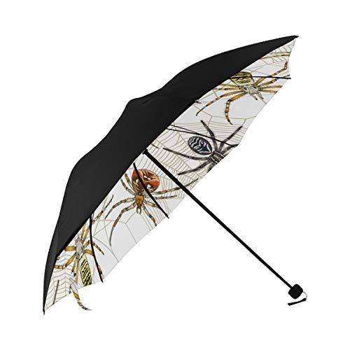 Spider Insect Crawl Animal Creativity Compact Travel Umbrella Sun Parasol Anti Uv Foldable Umbrellas(underside Printing) As Best Present For Women Sun Uv Protection