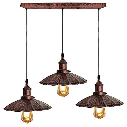 Lámpara de techo industrial de metal rústico ondulado de 3 vías, con lámpara de techo de 50 cm, color rojo rústico