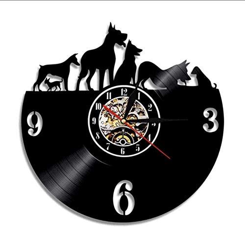 N-P Hund Vinyl Schallplatte Wanduhr Handmade Artist Residence Dekoration Phonograph Tier Rekord Zeituhr Uhr