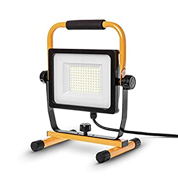 Home Zone ES06461V LED Light-7,000 Lumen Corded Work Lamp with Attachable Stand 70W ETL Certified Black