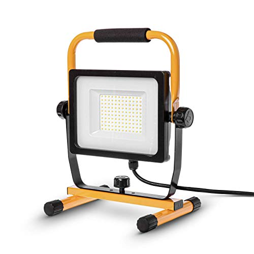 Home Zone LED Work Light - 7,000 Lumen Corded Work Lamp with Attachable Stand, 70W ETL Certified, Black