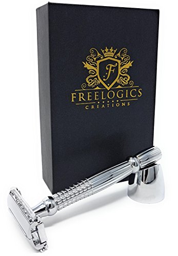 FREELOGICS Double Edge Safety Razor Kit with Stand - Extra Long...