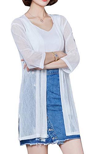 Chaqueta De Manga Larga De Verano Chaqueta De Acondicionador De Aire De Punto Fino De Las Mujeres Chal De Protección Solar Larga Chal Recortada XL Blanco