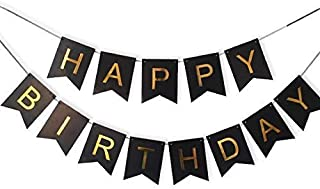 Party Propz LARGE Happy Birthday Banner with Shinny Gold For Birthday Decoration, Party Supplies, Birthday Party Decoratio...
