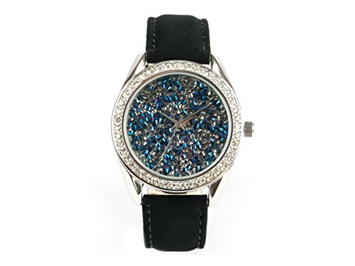 'Bella joya Mujer Reloj Paris, funkelnde Glamour de Reloj, Carcasa Color Plata con Esfera Azul, Brillantes, Correa de Piel auténtica Terciopelo Efecto