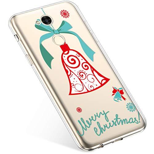 Kompatibel mit Handyhülle Sony Xperia XA2 Ultra Hülle Transparent Silikon Ultra Dünn Schutzhülle Durchsichtig Handyhülle Kristall Weiche Silikon TPU Handytasche Rückschale,Weihnachten Jingle Bell