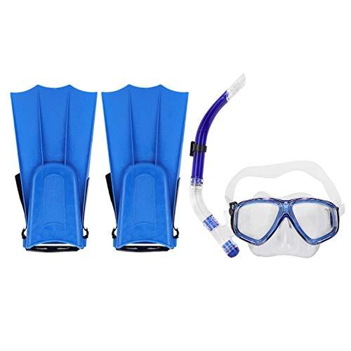 DAUERHAFT Las Gafas de Buceo antivaho con Aleta de Buceo Amplia mejoran la Velocidad, para niños buceando(Blue, 5 to 15 Years Old)