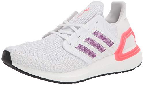 adidas Women's Ultraboost 20 Running Shoe, White/Glory Purple/Echo Pink, 10.5 M US