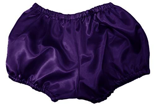 Women Satin Short Pant Pantaloons Bloomers Sissy Adult Baby Girls Fits with Underwear (Bluish Purple)