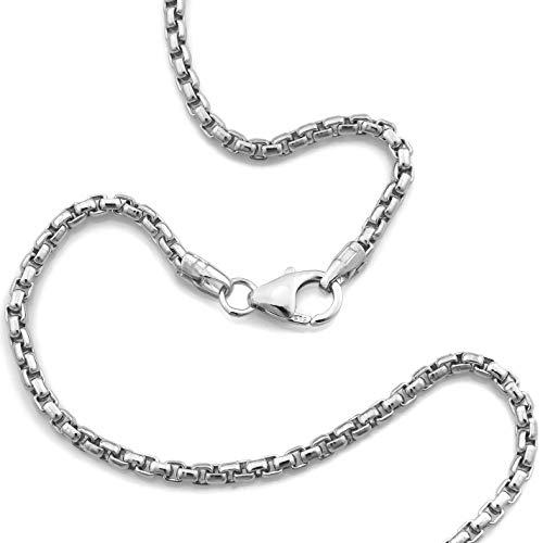 Venezianerkette 925 Sterlingsilber Rhodiniert Rund Breite 2,00mm Unisex Silberkette Halskette NEU (50 Zentimeter)